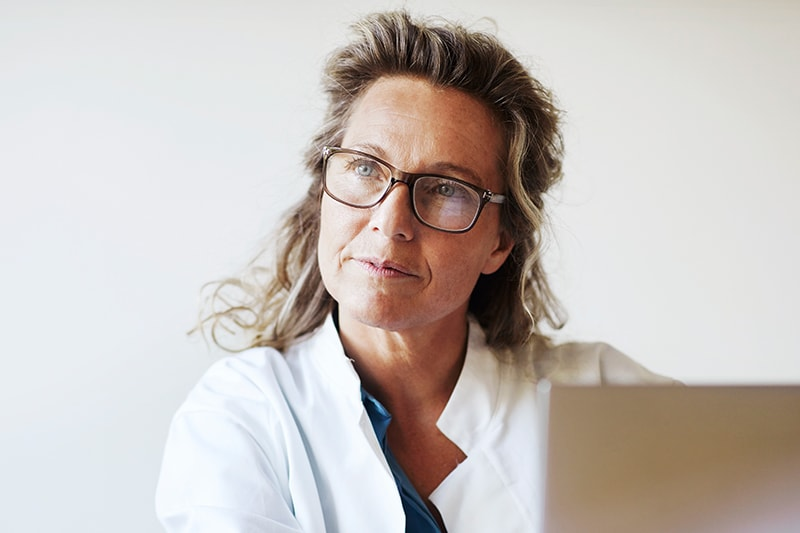 Scientist with glasses