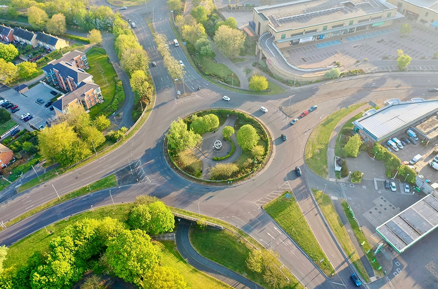 Birds eye view of round-about in Basildon, UK