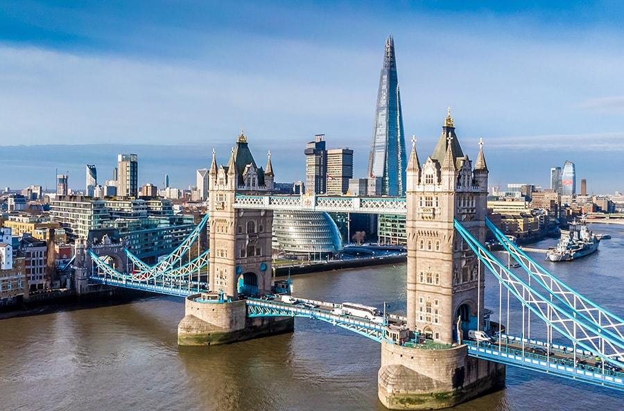 Tower Bridge and The Shard, London, UK